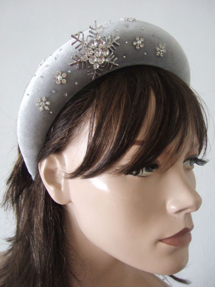 Grey Silver Crystal Velvet Thick Padded Wide Headband -Snowflake Embellished Wedding Bridesmaids